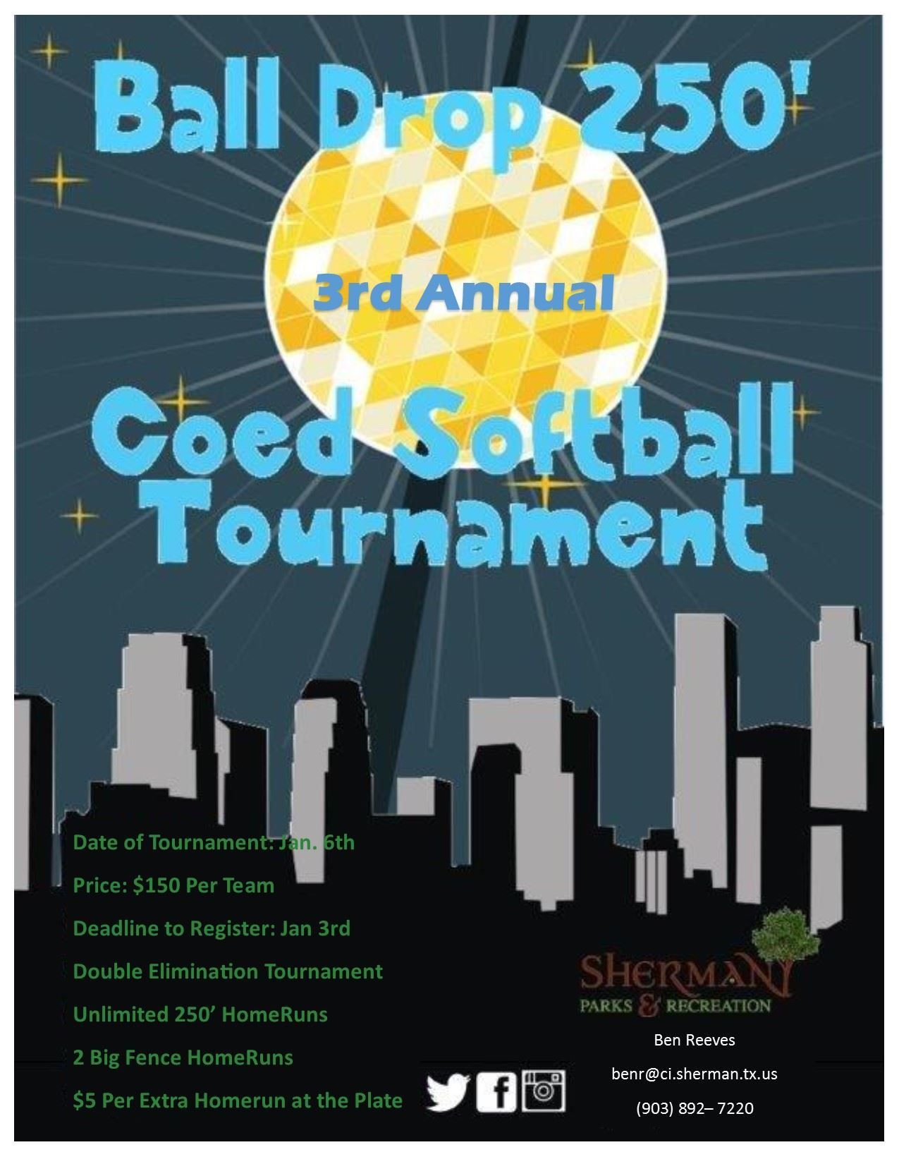 3rd Annual Ball Drop 250 Softball Tournament